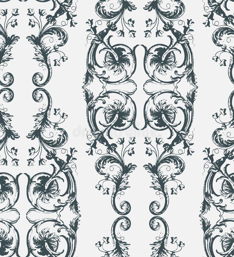 Victorian wallpapper Muster des sch?bigen Vektors des Zusammenfassungsdamastes nahtlosen vektor abbildung