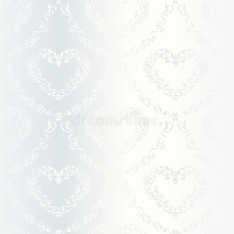 Victorian white satin wedding pattern with hearts. Elegant white seamless pattern with hearts, prefect for wedding designs. The tiles can be combined seamlessly stock illustration