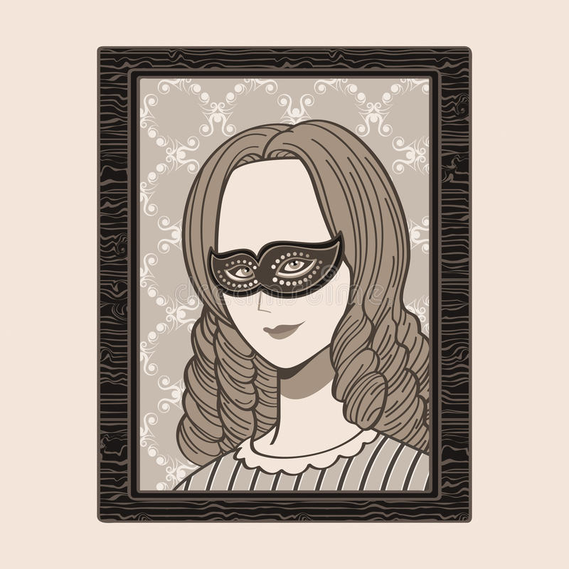 Victorian woman in mask vector illustration