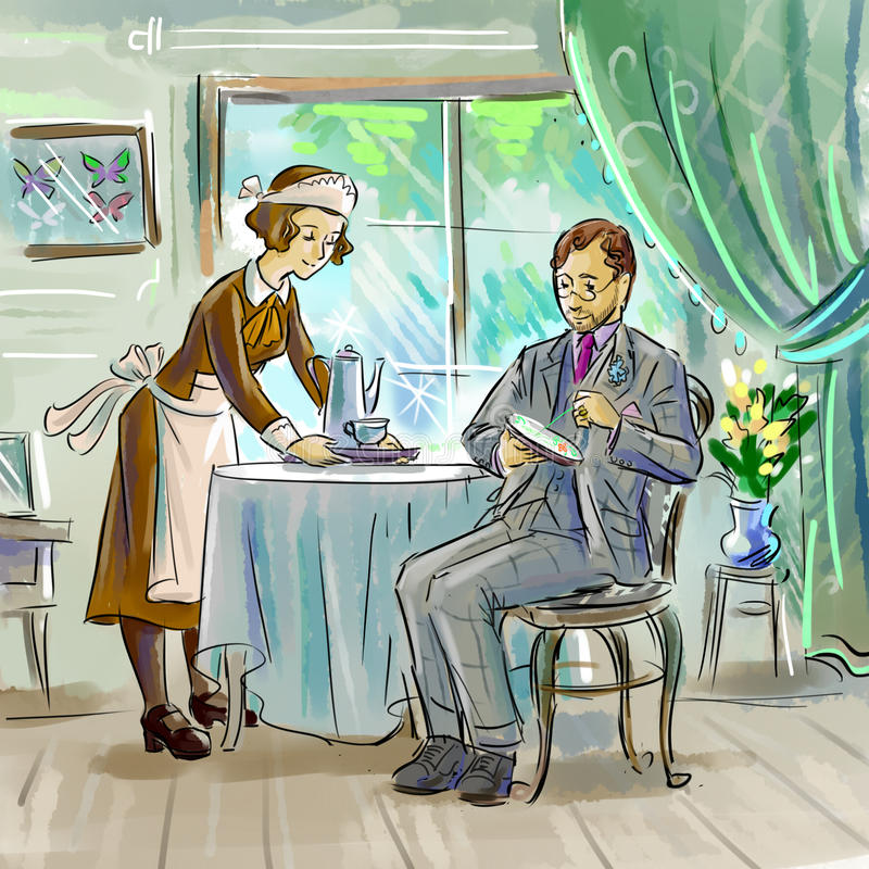 Victorians. Colorful illustration of Victorian characters stock illustration