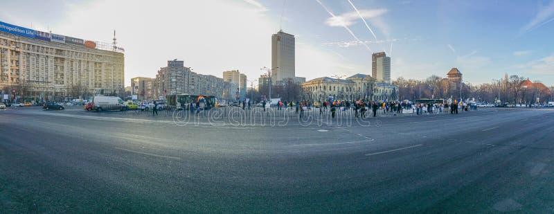 Victoriei ajusta, protesta de Rumania, día 4 fotos de archivo