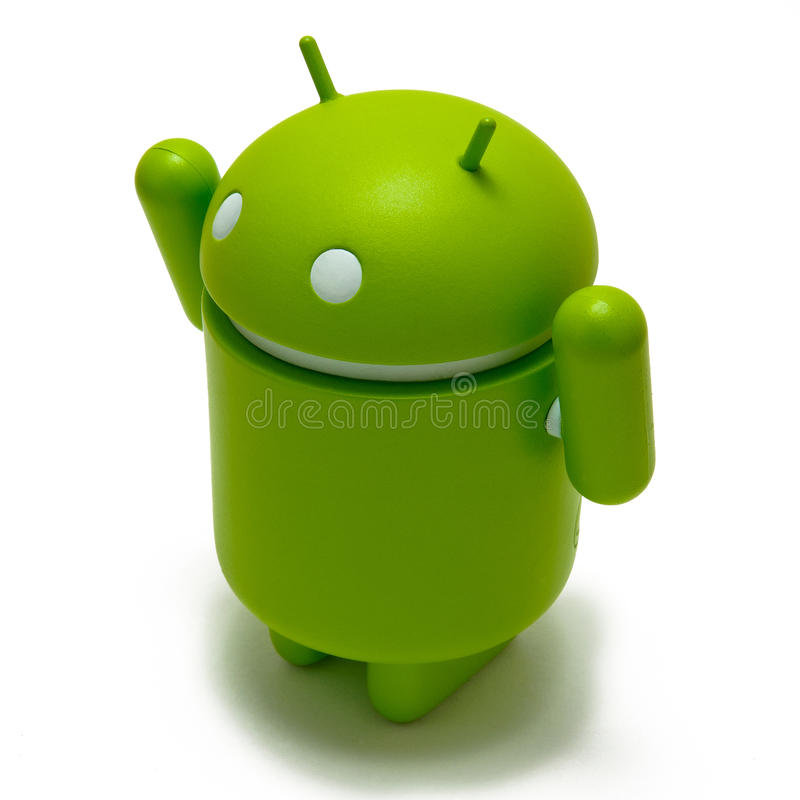 Victorious Android robot stock photos
