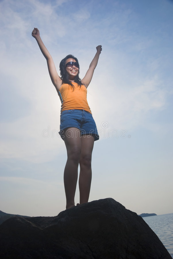 Victorious Asian Woman royalty free stock photography