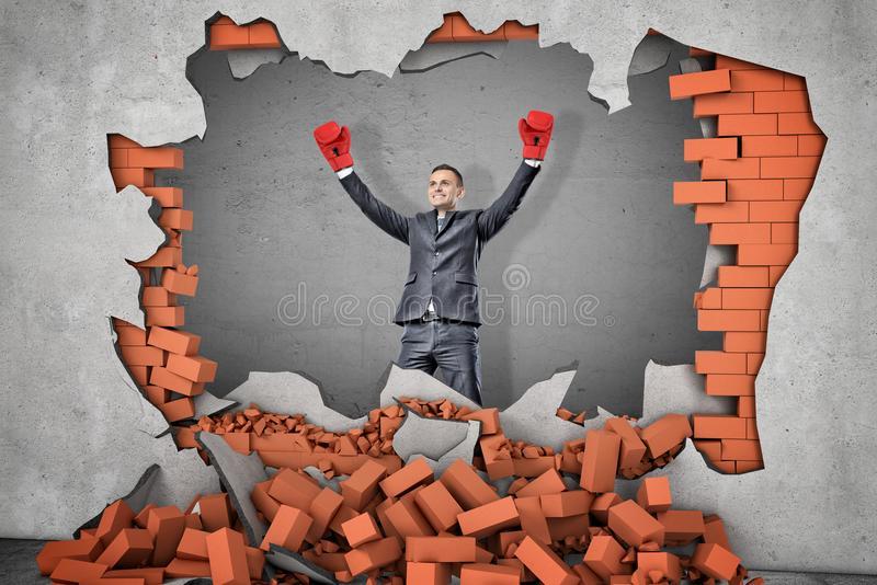 A victorious businessman in boxing gloves stands near a hole in a brick wall with rubble lying around. royalty free stock photos