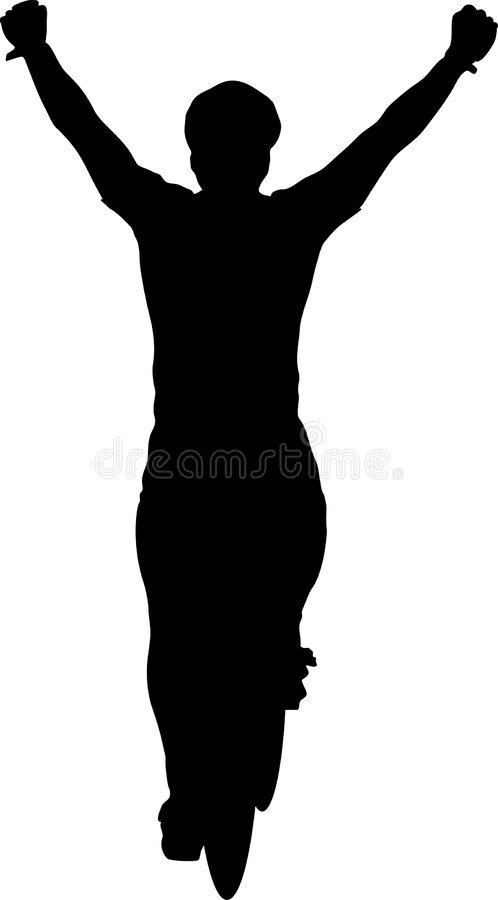 Victorious Cyclist Silhouette vector illustration