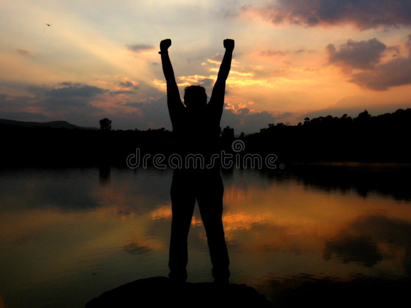 Victory. A guy celebrates his victory royalty free stock images