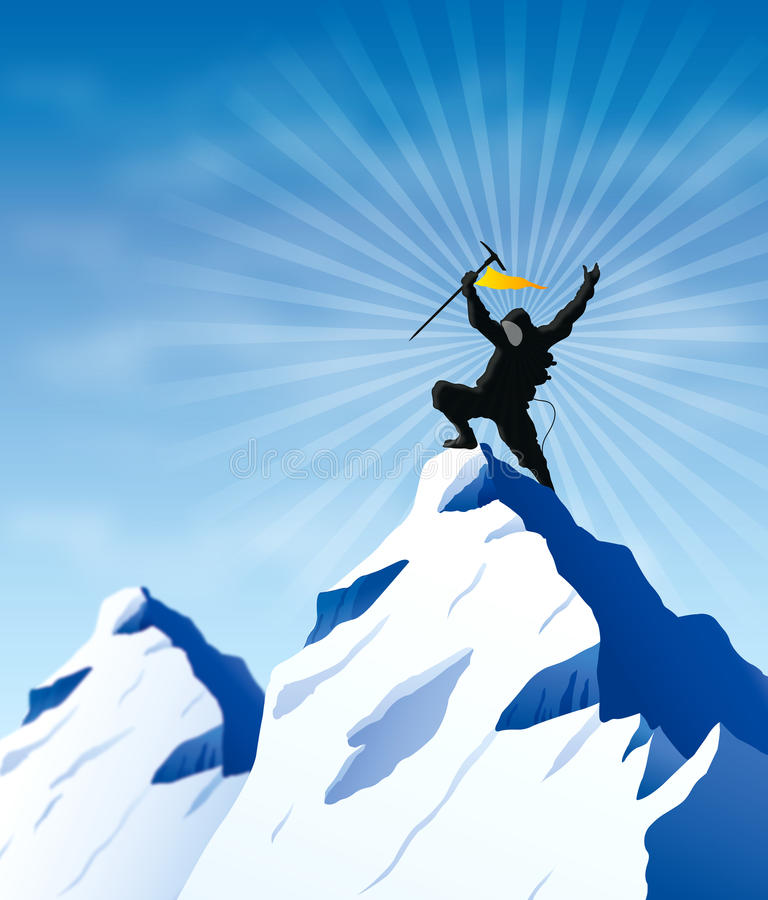 Victory. An illustration featuring the silhouette of a man with flag on a mountain to represent themes like success, victory goal-setting and motivation