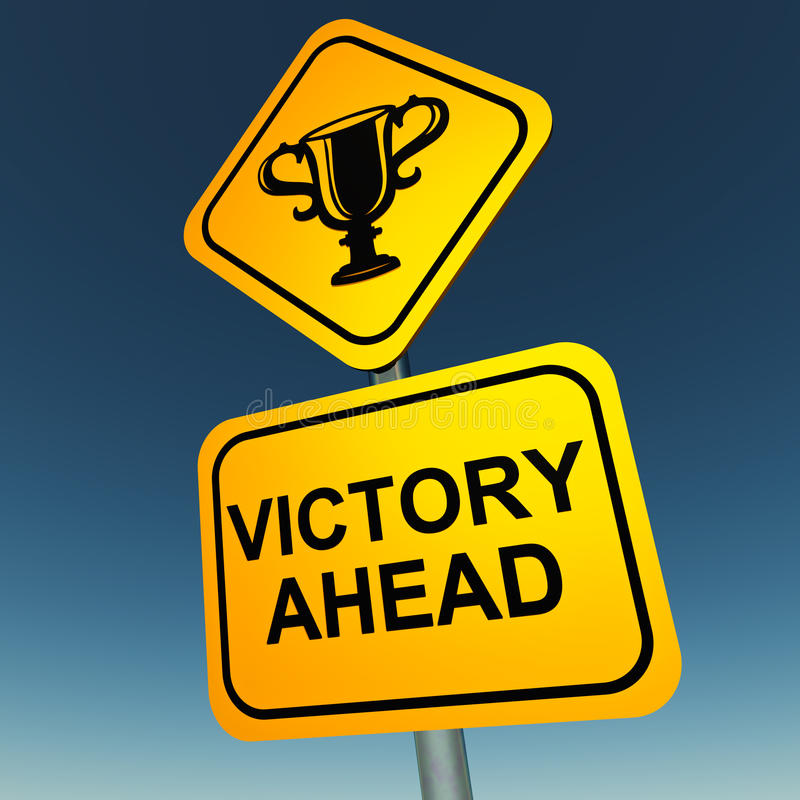 Victory. Ahead road sign with trophy award on top and text on lower part, cloudless sky in background stock illustration