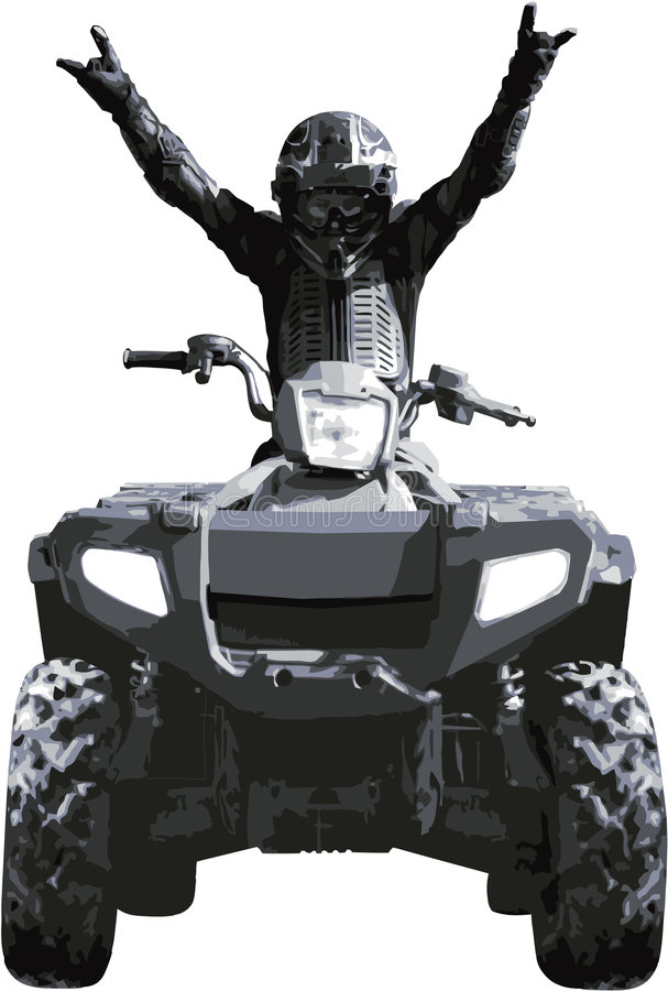 Victory!. Sportsman on quad bike celebrating victory