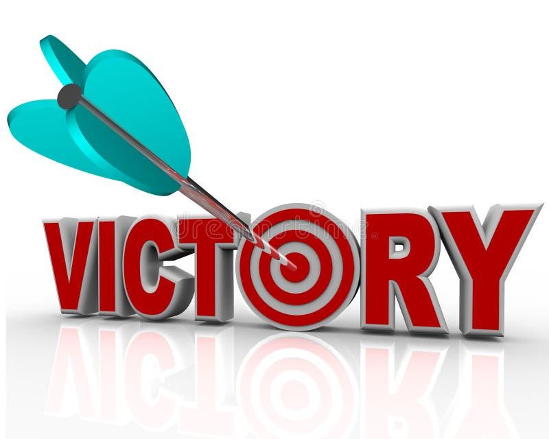 Victory Arrow nella parola riesce Triumph in concorrenza illustrazione di stock