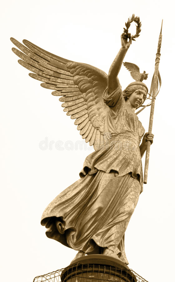 Victory column in Berlin. Close-up of the Angel on Victory Column in Berlin sepia toned stock images