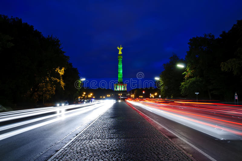 Victory column in berlin. Victory column (siegessaule) in berlin, germany, at night stock photography