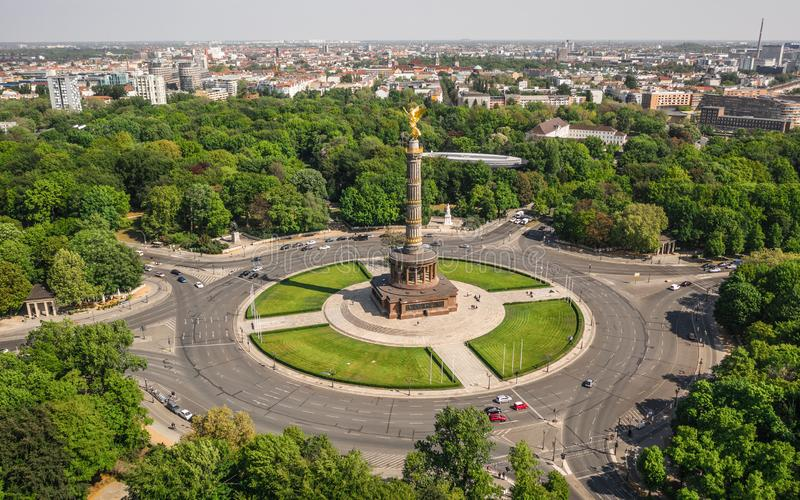 Victory Column in Berlin. Aerial view of Victory Column in Berlin stock photography