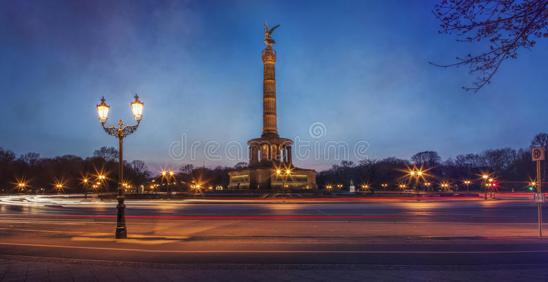 Victory Column Berlin in the evening. With lihts and traffic stock image