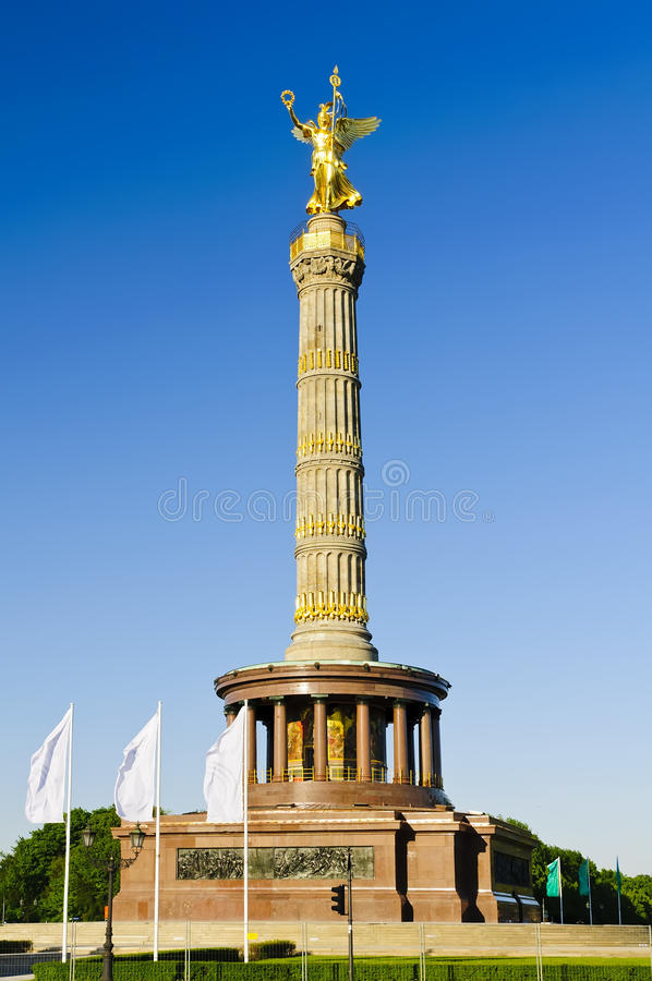 Victory column in berlin, germany. With blue sky stock images