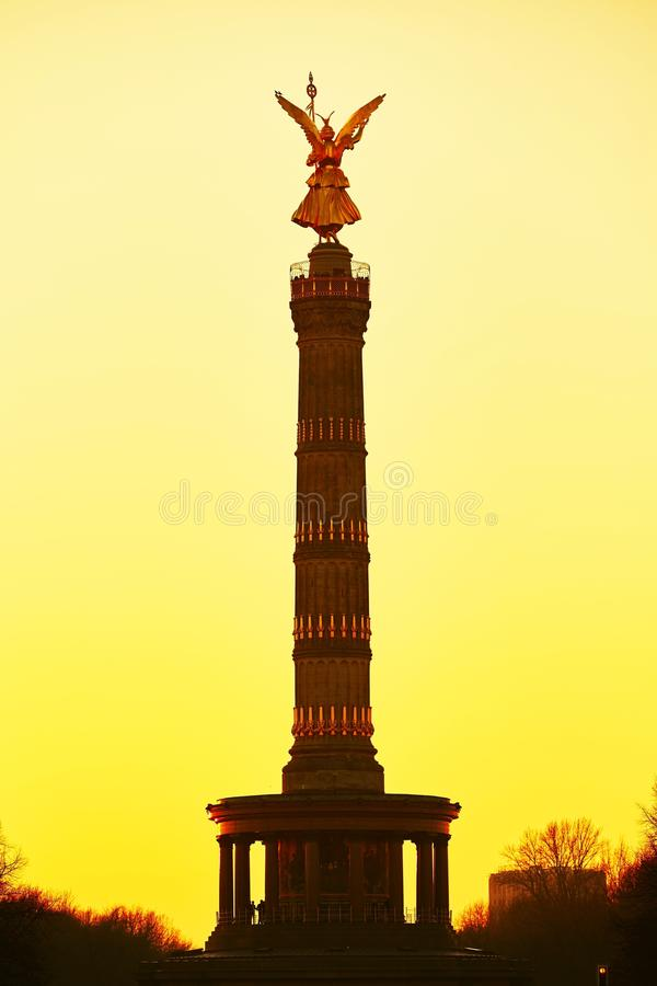 The Victory Column. At sunset, Berlin, Germany stock photography