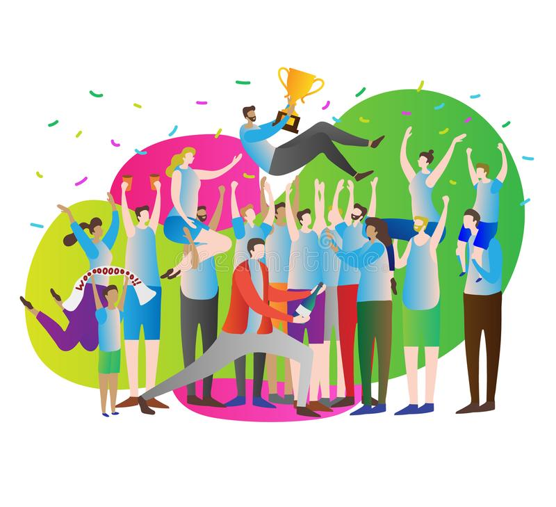 Victory crowd vector illustration.Celebration and party. Athlete leader with gold cup and fans, supporters with hands up. stock illustration