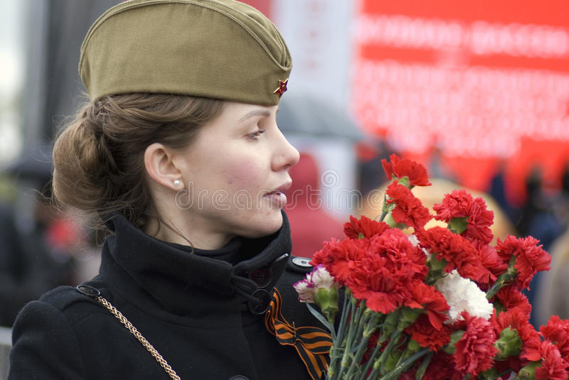 Victory Day celebration in Moscow. Young woman portrait stock photography