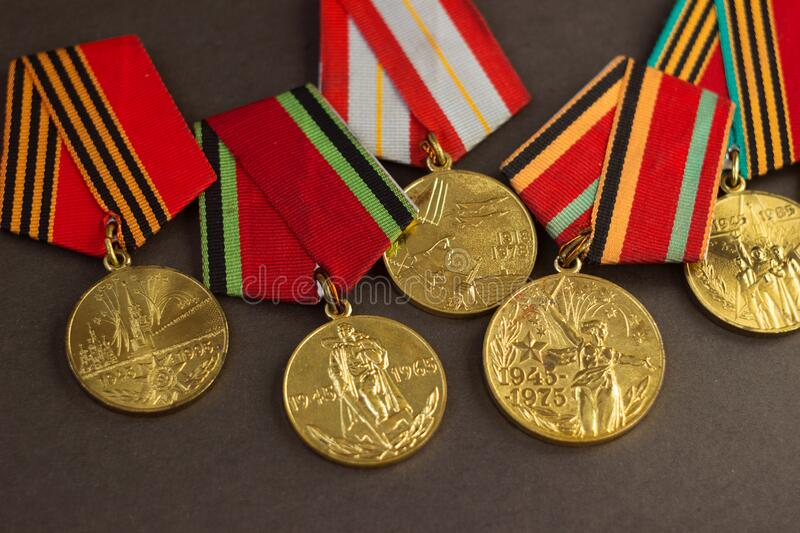 Victory Day May 9, background. Many medals of the Second World War lay on a black background.  stock photography