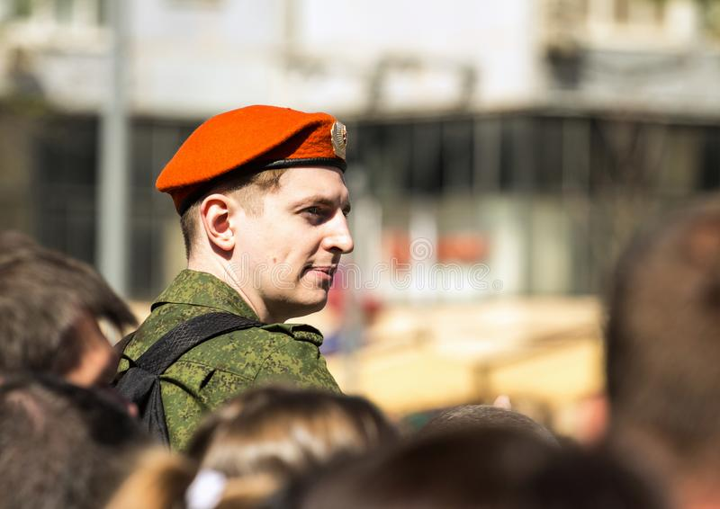 Victory Day in Moscow. Military on the parade of military equipment in Moscow on Victory Day. royalty free stock image