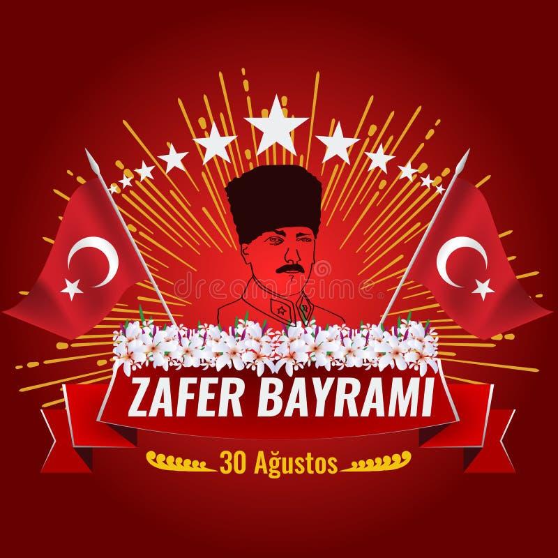 Victory Day nacional de Turquía con la bandera turca libre illustration