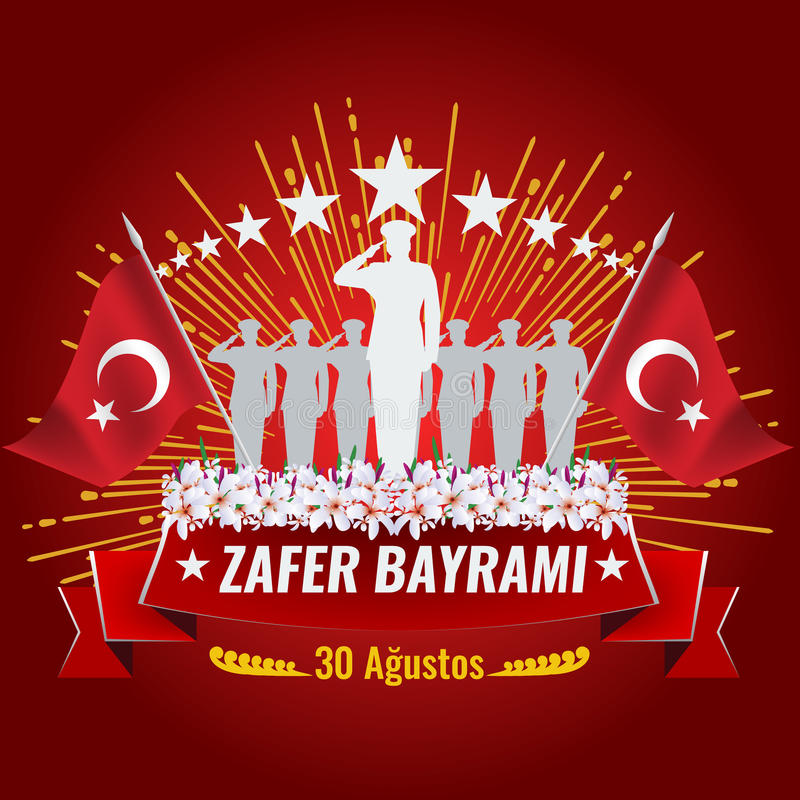Victory Day nacional de Turquía con la bandera turca stock de ilustración