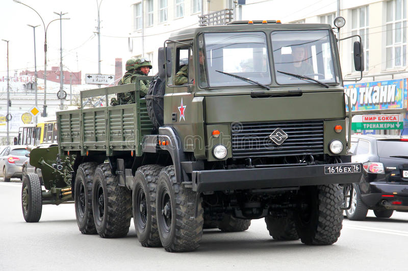Victory day 2014 in Yekaterinburg, Russia. YEKATERINBURG, RUSSIA - MAY 9, 2014: Military tractor Ural 5323 exhibited at the annual Victory day Parade stock photo