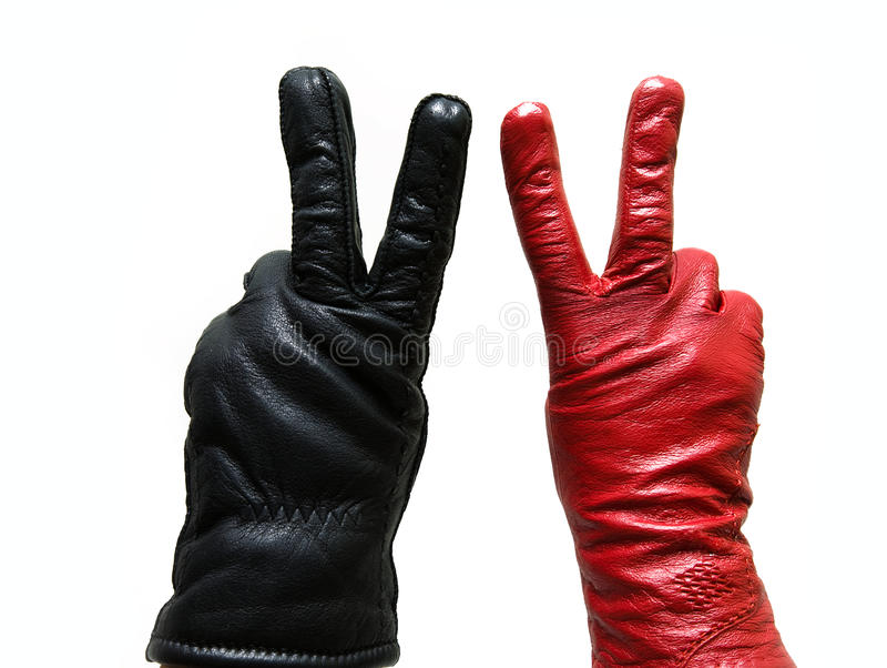 Download Victory gesture stock photo. Image of concept, leather - 12483562