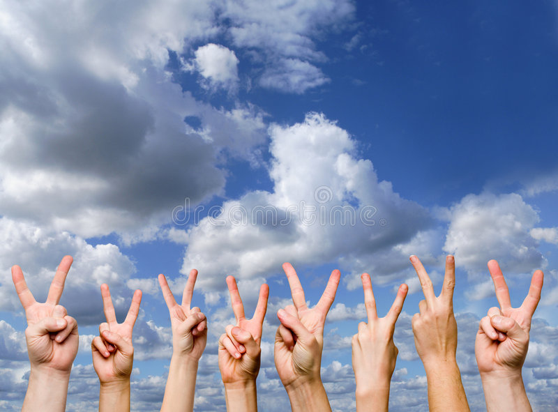 Victory Gestures Stock Images