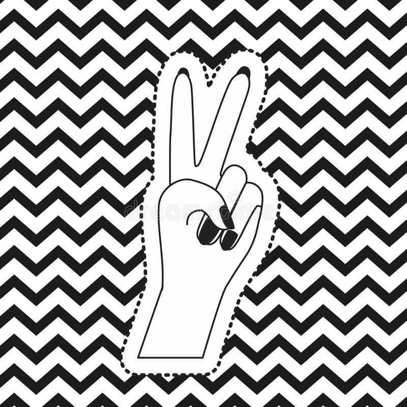 Download victory hand sign icon front view sticker on pop art zig zag linear monochrome background
