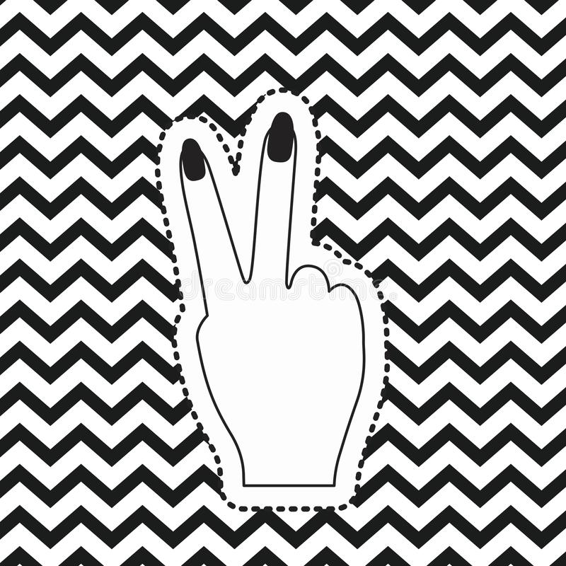 Download victory hand sign icon rear view sticker on pop art zig zag linear monochrome background