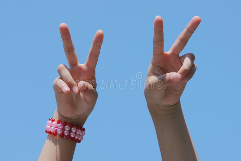 Download Victory hand signal stock photo. Image of part, blue - 20999704