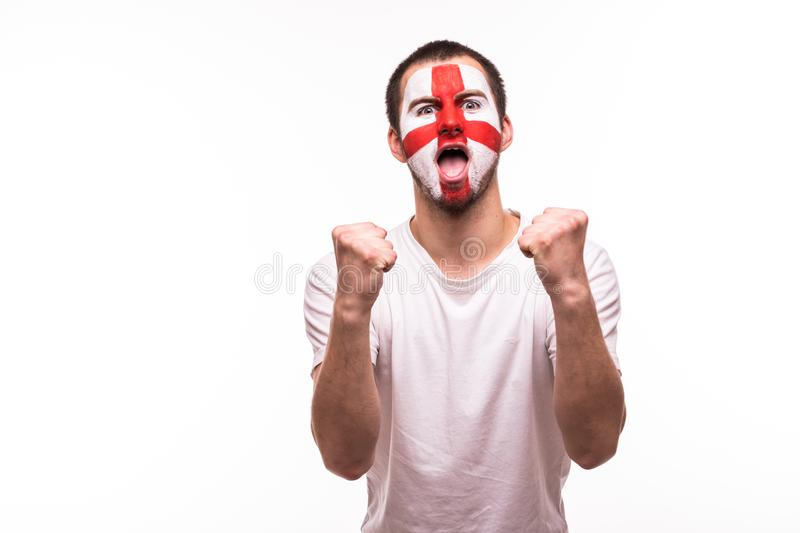 Victory, happy and goal scream emotions of british football fan in game support of England national team on white background. royalty free stock photo
