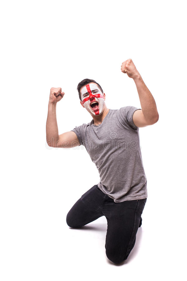 Victory, happy and goal scream emotions of English football fan stock photo