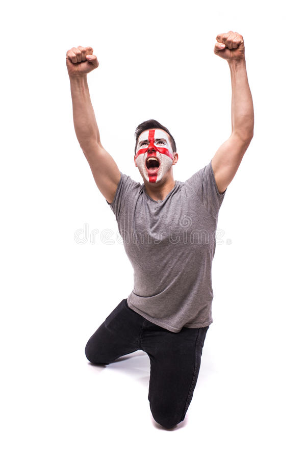 Victory, happy and goal scream emotions of English football fan in game support stock image