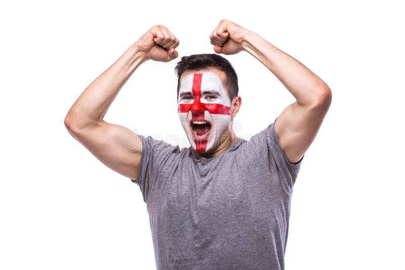 Victory, happy and goal scream emotions of Englishman football fan stock image