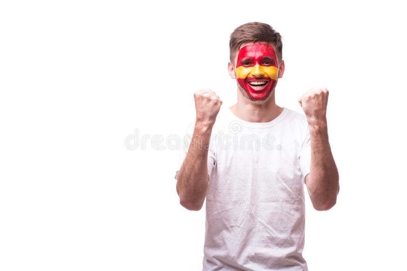 Victory, happy and goal scream emotions of Spain football fan royalty free stock photo