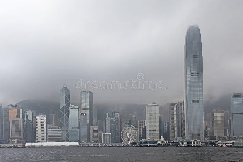 Victory Harbour im nebeligen Wetter, Hong Kong lizenzfreies stockfoto