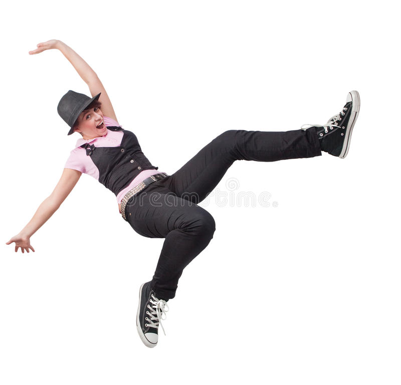Victory jump of happy free teen woman royalty free stock photo