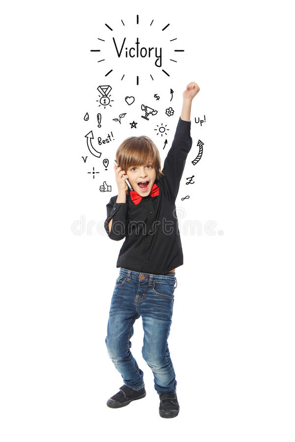 VIctory from little business boy stock photography