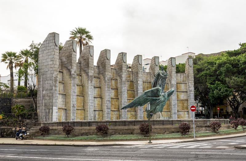 The Victory Monument in commemoration of General Franco with his sculpture, Santa Cruz de Tenerife, Spain royalty free stock image