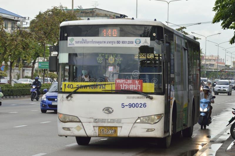 140 Victory Monument - Ma Ha Chai Maung Mai. Bangkok, Thailand , September 11, 2015 140 Victory Monument - Ma Ha Chai Maung Mai Bangkok bus car on the road city royalty free stock images