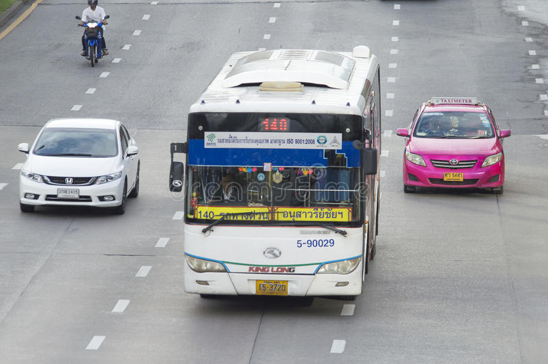 140 Victory Monument - Ma Ha Chai Maung Mai. Bangkok,Thailand ,September 11, 2015 140 Victory Monument - Ma Ha Chai Maung Mai Bangkok bus car on the road city stock photos