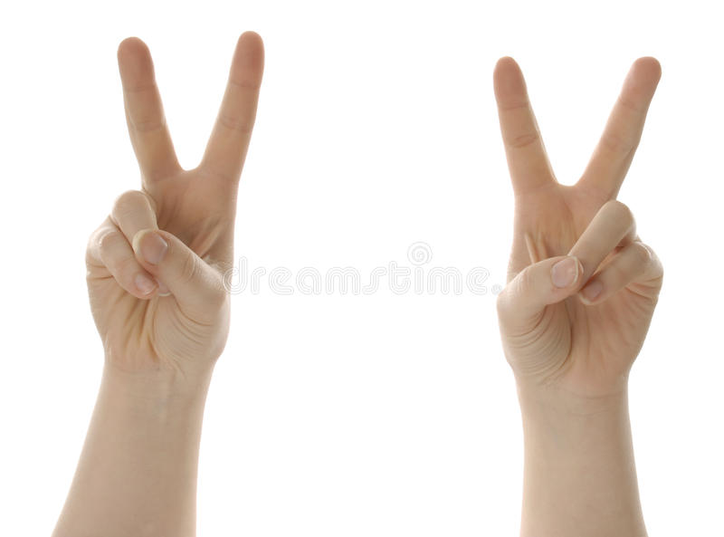 Victory Or Peace Symbol With Hands Stock Image Image Of Signal
