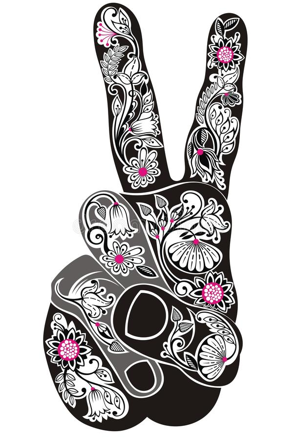 Victory sign. Hand with floral elements in tattoo style vector illustration