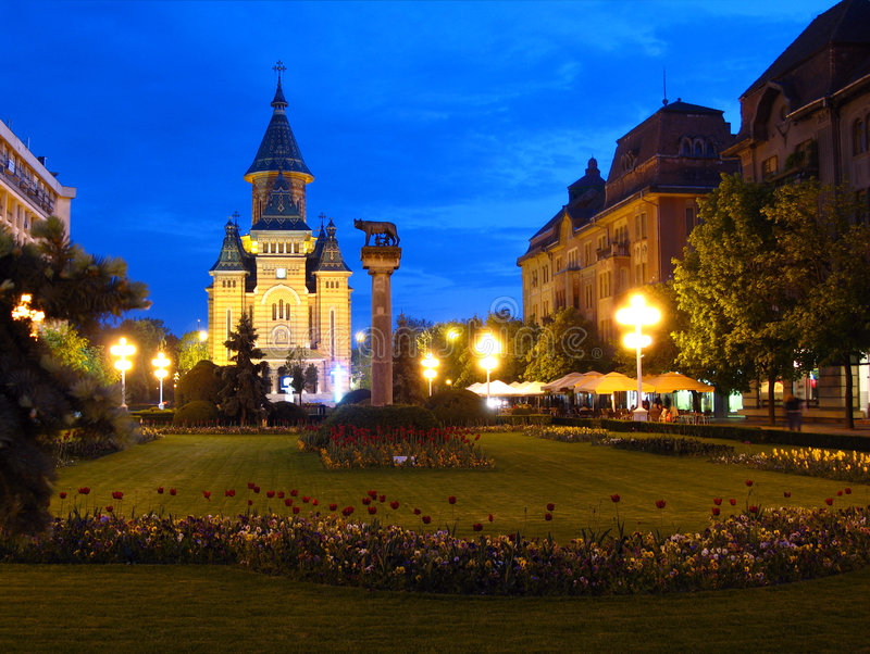 Victory Square, Timisoara, Romania. Twilight view from the Victory Square towards the Orthodox Cathedral in downtown Timisoara, Romania royalty free stock images