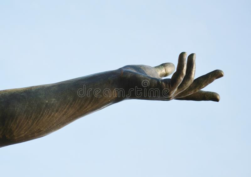 Victory statue, detail, in St. Mark's Square, Venice, Italy stock photography