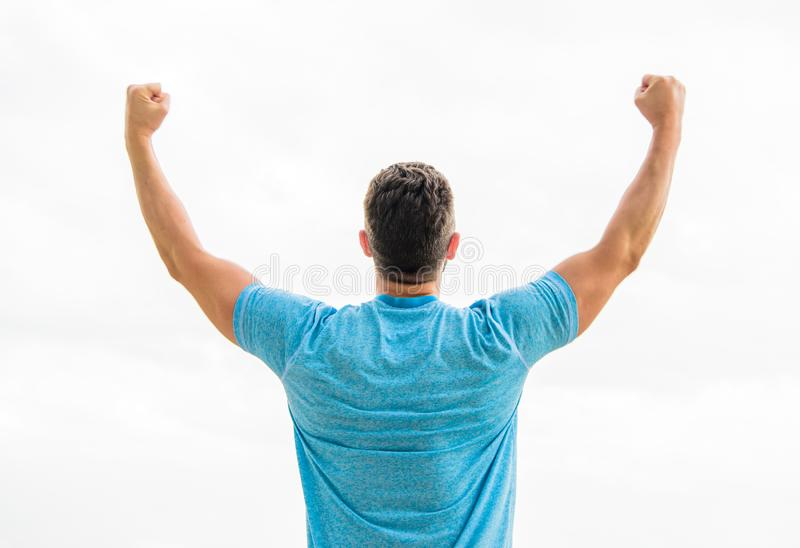 Victory and success. Champion winner. Future opportunity. Leadership and competition. Future concept. Looking forward in. Future. Strong muscular body feeling stock photos