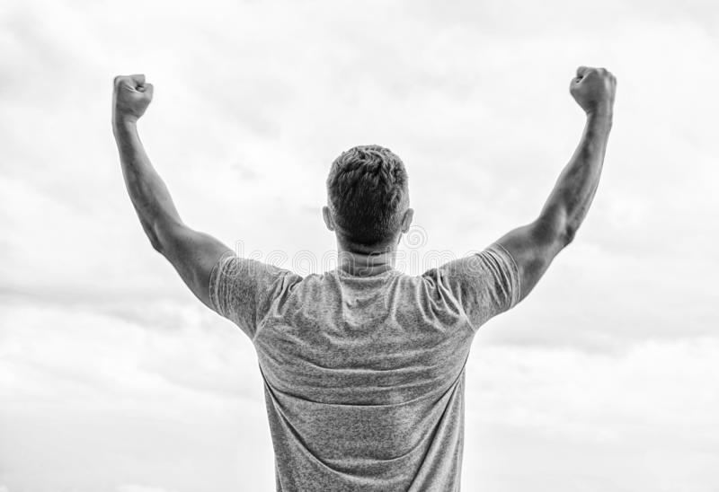 Victory and success. Champion winner. Future opportunity. Leadership and competition. Future concept. Looking forward in. Future. Strong muscular body feeling stock image