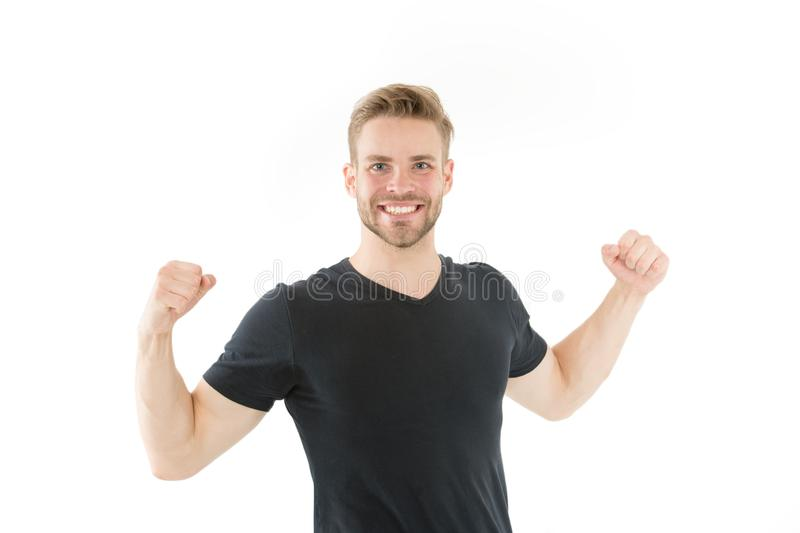 Victory and success. Champion winner. Successful guy celebrating. Handsome cheerful successful man. Leadership and. Competition. Strong muscular body feeling royalty free stock photos